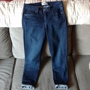 Paige dark blue skinny ankle cropped jeans sz 27